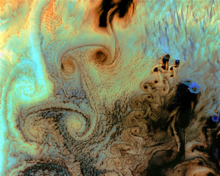 Karman vortices over the Aleutian islands in Alaska